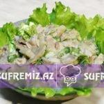 Mal əti ilə göbələkli salat